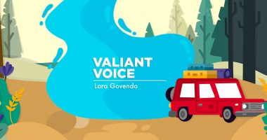 A banner for Lara's column, depicting a car on a road trip winding through a forest.