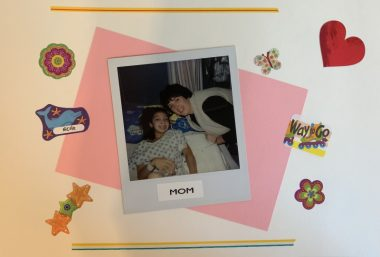 Hospitalization tuneup | Cystic Fibrosis News Today | A second scrapbook photo set against a pink background with heart stickers shows a young Nicole with her mom, Patty, in the hospital