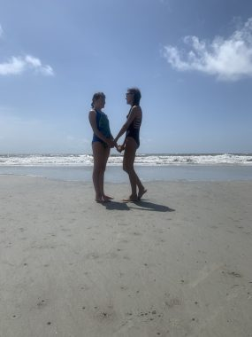 Cystic Fibrosis News Today \ A sunny day on the beach for Bailey and her 12-year-old daughter Follin.