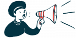 BreatheCon | Cystic Fibrosis News Today | virtual event | illustration of woman with megaphone