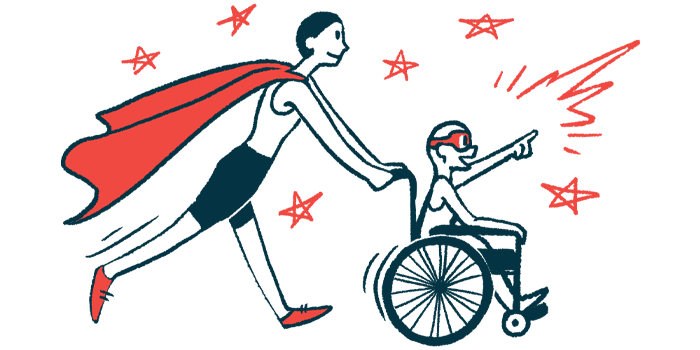 rare disease clinical trial participants | Cystic Fibrosis News Today | Illustration of woman in cape pushing child in wheelchair